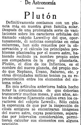 'La Vanguardia', 23 de juliol de 1930: J. Comas anuncia el nom de Plutó (LV)